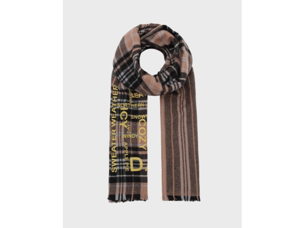 DAY CHECK TEXT WOVEN SCARF