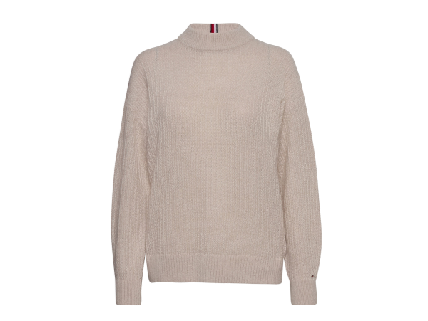 TEXTURED STITCH MOCK-NK SWEATER