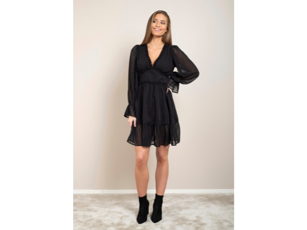 CASSANDRA DRESS BLACK CHIFFON JAQUARD